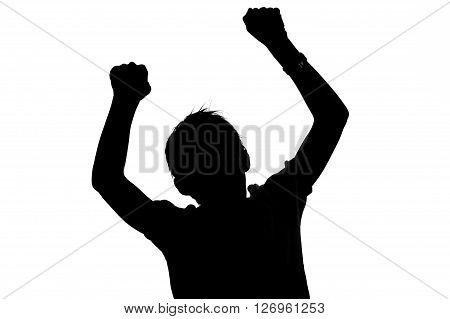 Black And White Silhouette Of A Boy Cheering