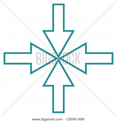 Compact Arrows vector icon. Style is stroke icon symbol, soft blue color, white background.