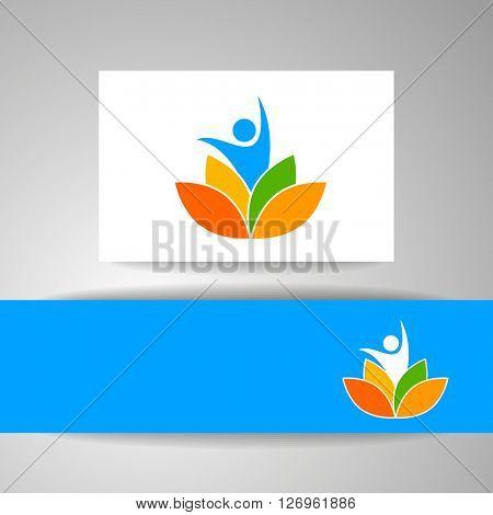 Yoga logo. Vector design template. Health Care, Beauty, Spa, Relax, Meditation, Nirvana concept icon.