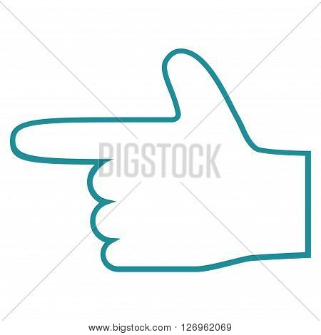 Hand Pointer Left vector icon. Style is contour icon symbol, soft blue color, white background.