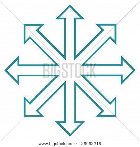 Maximize Arrows vector icon. Style is contour icon symbol, soft blue color, white background.