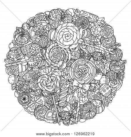 Set of sweets with chocolate, cream, lollypos. Artistically drawn, stylized. uncoloured  black and white ornament in adult coloring book style. Could be use  for adult coloring book  in zenart style.