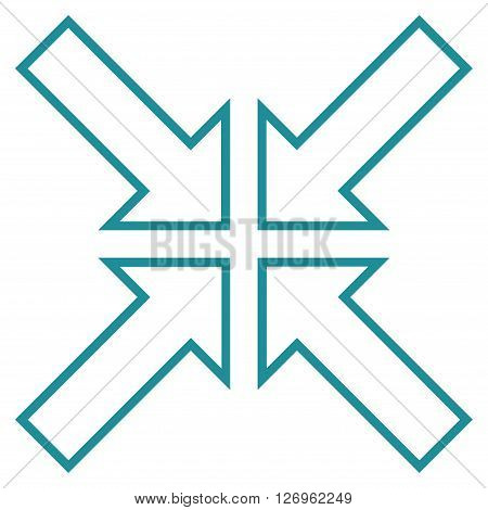 Meeting Point vector icon. Style is outline icon symbol, soft blue color, white background.