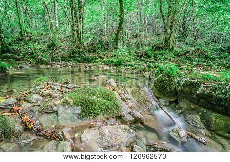 Italy, Udine, San Leonardo del Friuli - Rio Patok a little bit dry in summer