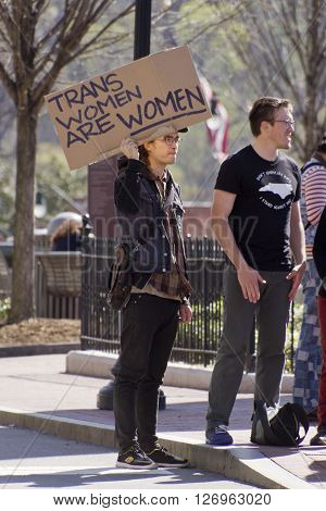 Asheville, North Carolina, USA - April 2, 2016: Sign at a LGBT protest rally against the HB2 Law in North Carolina say