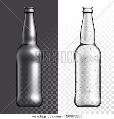 Vector bottle. Beer bottle. Transparent glass
