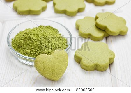Homemade matcha green tea shortbread cookies, closeup
