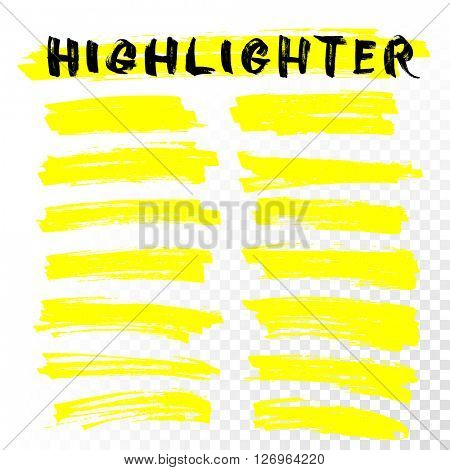 Yellow Highlighter Marker Strokes.