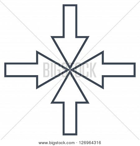 Compact Arrows vector icon. Style is outline icon symbol, smooth blue color, white background.