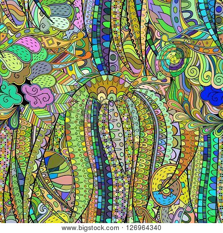 Tracery Colorful Pattern. Mehendi Design. Neat Even Harmonious Calming Doodle Texture. Algae Sea Var