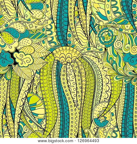 Tracery Seamless Calming Pattern. Mehendi Design. Neat Even Yellow Harmonious Doodle Texture. Algae
