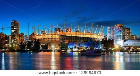 VANCOUVER, BC - AUG 17: BC Place Stadium at waterfront of False Creek on August 17, 2015 in Vancouver, Canada. With 603k population, it is one of the most ethnically diverse cities in Canada.