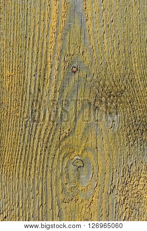 Vintage wooden background with yellow peeling paint