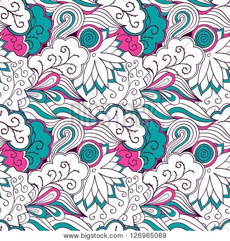 Tracery Seamless Pattern Calming. Mehndi Design. Neat Colorful Harmonious Even Doodle Texture. Algae