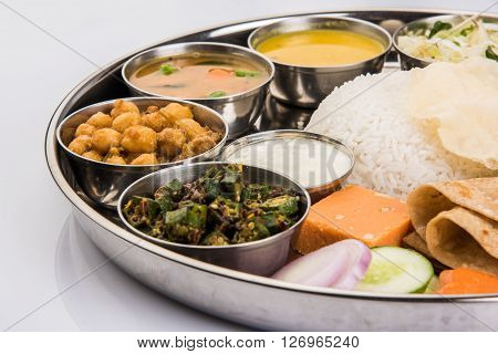 Group of Indian Food or Indian Thali, south indian thali, south indian compleat meal, south indian complete lunch, indian food thali