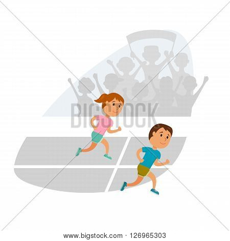Group of children running. Running competition. Group of juniors run together. Jogging cartoon child. Sprint marathon. Kids sport and activity. Fans at the stadium. Girl and boy athletes