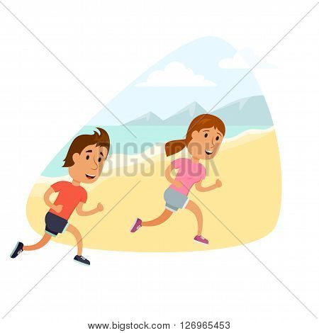 Run couple. Healthy lifestyle illustration . Woman and man jogging. Runners couple on the beach. Activity and sport for young couple. Fitness concept. Woman and man run.