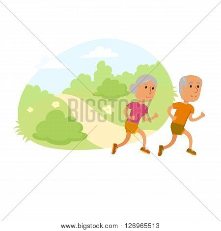 Old couple run. Healthy lifestyle illustration. Old woman and man jogging. Old people runners in city park. Activity and sport for old couple. Outdoor fitness concept. Seniors run.