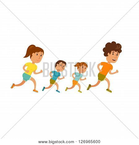 Run family. Healthy lifestyle illustration. Woman, man and child jogging. Runners family in city park. Activity and sport for young parent and baby. Fitness concept. Family: mom, dad and childrens run
