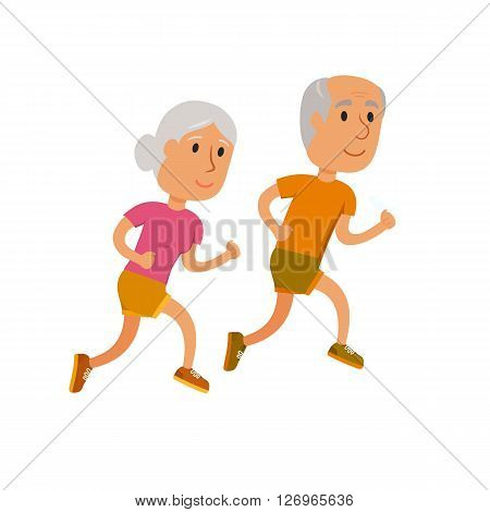 Old couple run. Healthy lifestyle illustration. Old woman and man jogging. Old people runners isolated on white. Activity and sport for old couple. Fitness concept. Seniors run.