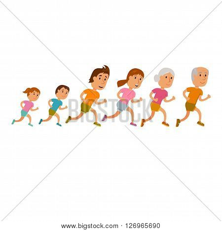 Run family. Healthy lifestyle illustration. Woman, man and child jogging. Runners family. Activity and sport. Fitness. Family: mom, dad, grandfather grandmother and children run