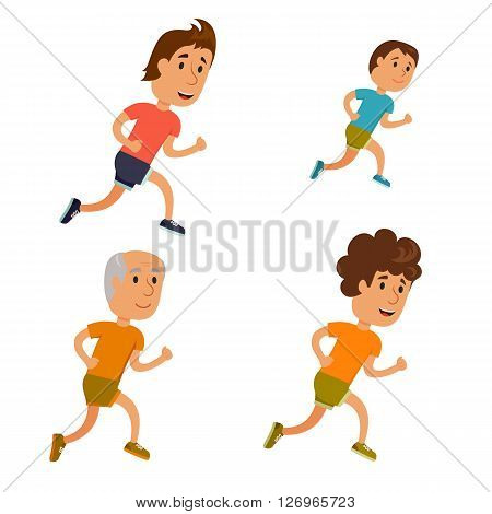 Run man. Healthy lifestyle illustration. Boy, the young and the old man run. Male runners. Activity and sport. Fitness for men. Son, father and grandfather run