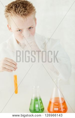 Boy With Dangerous Chemical Smoke Coughing
