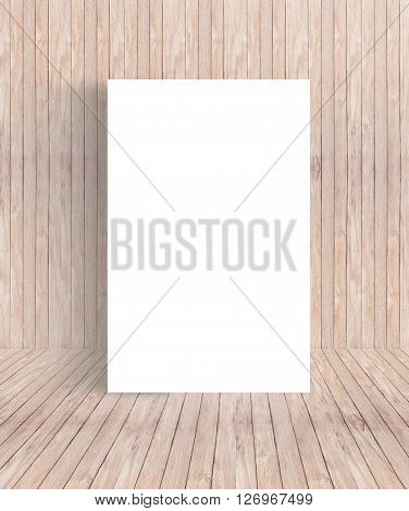 White Blank Poster placed against wall wooden room Template Mock up for your content. For product display and advertising and promotional purposes.