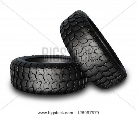 New Tires For Car Isolated On White Background.