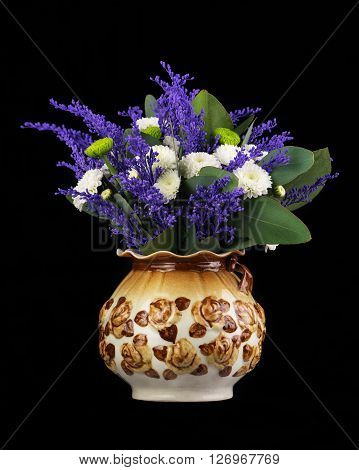 Beautiful Bouquet In Vase On Black Background.