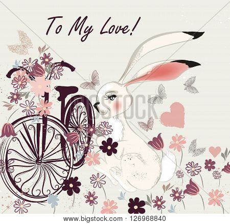 Beautiful hand drawn postcard with cute rabbit bicycle and field of flowers to my love card can be used hove valentines day greeting background