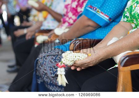 Thai People Celebrate Songkran New Year Water Festival 13 April By Giving Garlands To Their Seniors