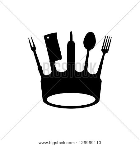 Crown of kitchen utensils, flat logo style, vector illustration