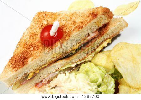 Club Sandwich With Salad