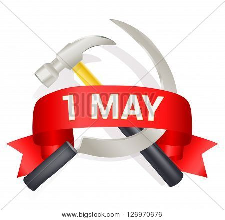 1st may day greeting illustration with hammer and sickle and a bow with text. Labor day greeting international worker day celebration template. vector illustration