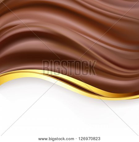 creamy chocolate with golden border over white background. sweet food design template background. delicious wavy dark chocolate cream on white. vector