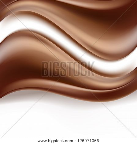 chocolate background with white stripe. creamy abstract background. sweet food delicious wavy dark chocolate cream on white. vector. vector