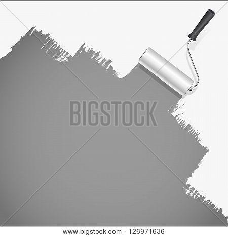 roller brush painting white over grey background. vector illustration