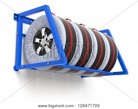 Spare car tyre cover wheel storage and carry bag cover  - 3D illustration