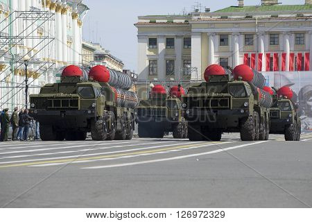 SAINT PETERSBURG, RUSSIA - MARCH 05, 2016: Four missile launchers air defense missile systems S-300PM at the rehearsal of parade in honor of Victory Day in St. Petersburg