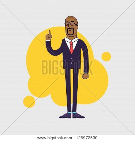 Vector illustration of African American businessman showing his forefinger. Good idea or attention gesture. Linear flat design.