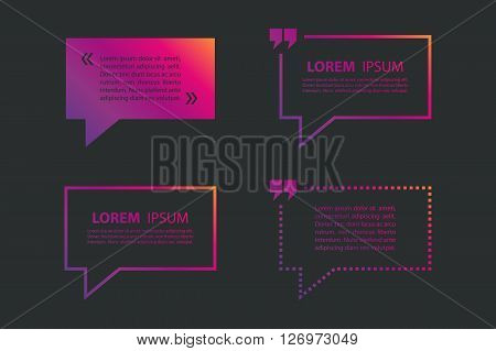 Set of quote text bubble template. Quote bubble. Quote form. Quote blank template. Vector illustration.