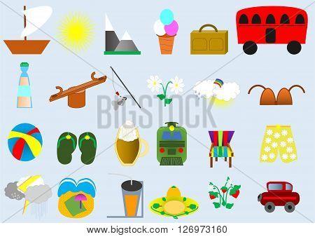 summer background sun, boat, ice-cream, suitcase, mountain