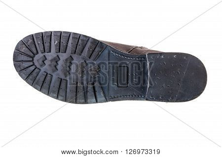 a man's leather fashion boot sole bottom isolated over a white background