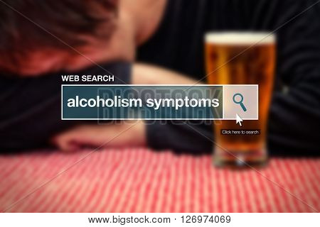 Web search bar glossary term - alcoholism symptoms definition in internet glossary.