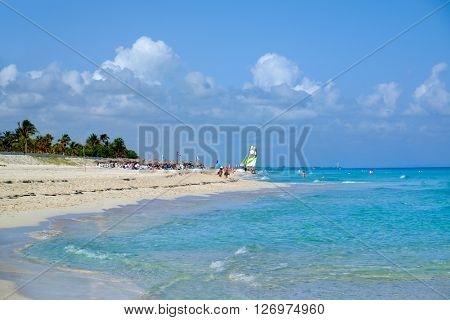 The beautiful beach of Varadero in Cuba on a sunny summer day