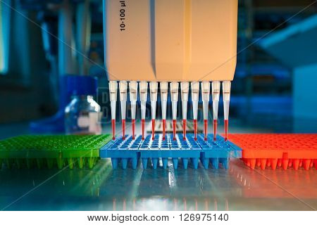 multi pipette in microbiology laboratory