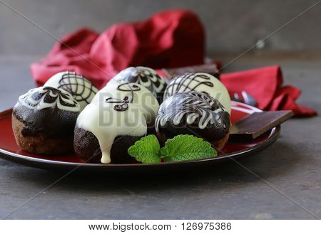 dessert biscuit balls cakes with chocolate icing