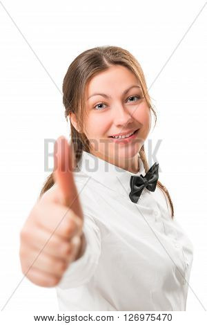 Portrait Of A Successful Business Woman In A Black Bow Tie And White Shirt