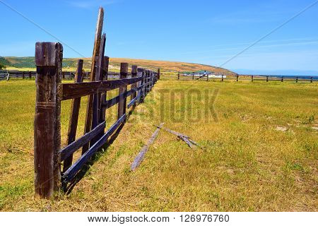 Rustic fence on abandoned ranchland taken at Santa Rosa Island, CA